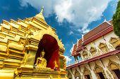 The golden pagoda at Wat Phan Ohn temple in Chiang Mai, Thailand
