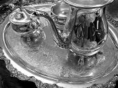 Decorative elegant silver service tray with engravings
