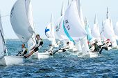 The 470 Fleet Approaches the Leeward Mark At The 2014 North American Championships.