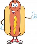 Smiling Hot Dog Cartoon Character Showing A Thumb Up