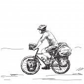 picture of long distance  - Hand drawn tourist long distance cyclist - JPG