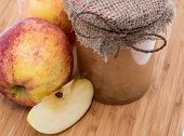 Fresh Made Applesauce On Wooden Background