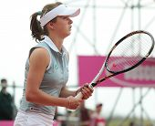 KHARKOV, UKRAINE - APRIL 21, 2012: Elina Svitolina in the match with Serena Williams during Fed Cup tie between USA and Ukraine in Superior Golf and Spa Resort, Kharkov, Ukraine