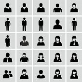 stock photo of black face  - Vector black and white people icons - JPG