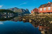 foto of reining  - Traditional wooden houses against  in Reine village - JPG
