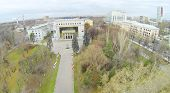 MOSCOW, RUSSIA - OCT 22, 2013: (view from unmanned quadrocopter) Russian State Social University. Un