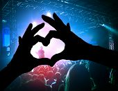 a crowd of people at a concert with a heart shaped hand shadow