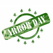 Green Weathered Arbor Day Stamp Circle And Trees Design
