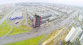 Schelkovskoe highway in Moscow, Russia. View from unmanned quadrocopter