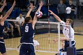 IRVINE, CA - JANUARY 17: Travis Woloson of UCI spikes the ball in a volleyball match with Brigham Yo