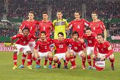 VIENNA,  AUSTRIA - MARCH 22 The Austrian team poses before the world cup qualifier game on March 22,