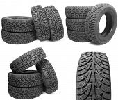picture of four-wheel drive  - set of stack of four new black tyres for winter car on white background  - JPG