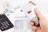 Light Bulb Whit Calculator And Euro Coins