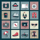 Retro traveler flat icon collection. Vector sign.