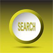 Search. Plastic button. Raster illustration.