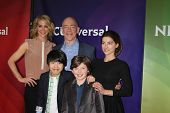 PALM SPRINGS - JAN 19:  Jenna Elfman, JK Simmons, Ava Deluca-Verley, Lance Lim, Eli Baker at the NBC