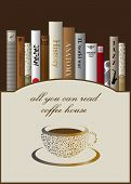 Coffee menu card design template with book. Vector illustration.