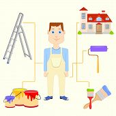 foto of interior decorator  - vector illustration of painter with equipment - JPG