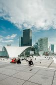 PARIS - SEPTEMBER 21: Panorama of La Defense on September 21, 2012 in Paris, France. Defense is the most important business district of Paris.