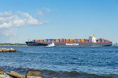 NEW YORK, SEPTEMBER 28, 2013 - Hapag-Lloyd container ship (