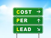 3D Cost Per Lead Road Sign