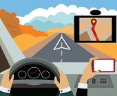 Using navigator with modern maps and applications in the car. Modern vector illustration, flat-conce