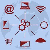 Cloud computing technology scheme with icons