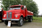 Classic Red Scania L50 Pickup Truck