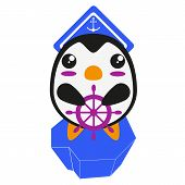 Kawaii cute penguin sailor on an iceberg