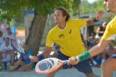 MOSCOW, RUSSIA - JULY 20, 2014: Vinicius Font of Brazil in the final match against Italy during ITF