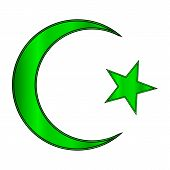 image of crescent-shaped  - Green star and crescent icon on white background - JPG