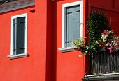 Island Of Burano House With The Red Wall