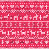 Winter, Christmas white seamless pixelated pattern with deer and hearts on red