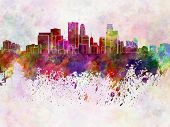 Minneapolis Skyline In Watercolor Background