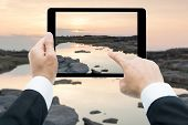 Businessman Hands Tablet Taking Pictures Sam Phan Bok Rock Canyon