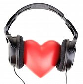 Headphones and heart, isolated on white