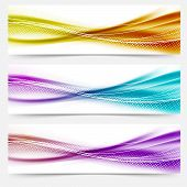 Bright Abstract Wave Footers With Lines