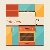 Card with kitchen interior in retro style.