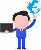 Businessman Holding Globe And Tablet