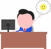 Happy Businessman Working Behind Desk