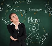 Businesswoman thinking against green chalkboard with business buzzwords