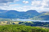 Windermere Lake District National Park England uk on a beautiful sunny summer day