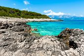 Rocky Shore With Turquoise Sea Water. Adriatic Coast Of Korcula Island, Touristic Destination In Cro