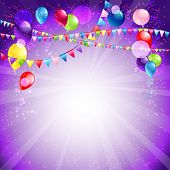 Festive holiday balloons and confetti. Place for text