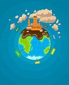 Ecological  infographics Earth planet ecocatastrophe. Eps10 vector illustration.