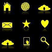 Yellow Web icons on the black