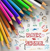 Vector Back to school poster - colorful crayons on white paper with doodles