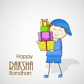 Cute little boy holding colorful gift boxes on grey background for the occasion of Raksha Bandhan fe