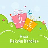 Colorful gift boxes with butterflies on nature background for Raksha Bandhan celebrations.
