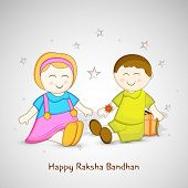 Cute little sister and brother sitting on stars decorated grey background for Happy Raksha Bandhan celebrations.